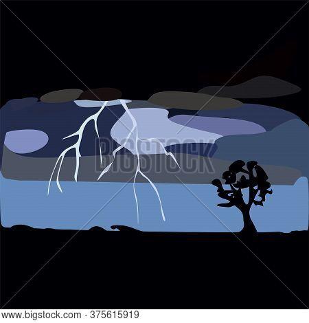 Big Lightning In The Dark Blue Night.lightning In The Dark Forest.a Flash Of Lightning In The Dark S