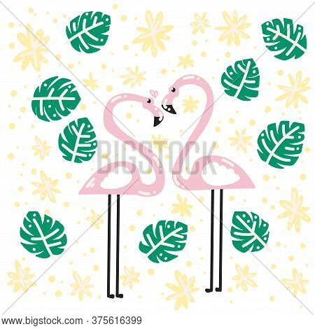 Two Lovers Of Flamingos In The Tropics. Tropical Leaves And Flowers. A Pair Of Flamingos. Love. Vect
