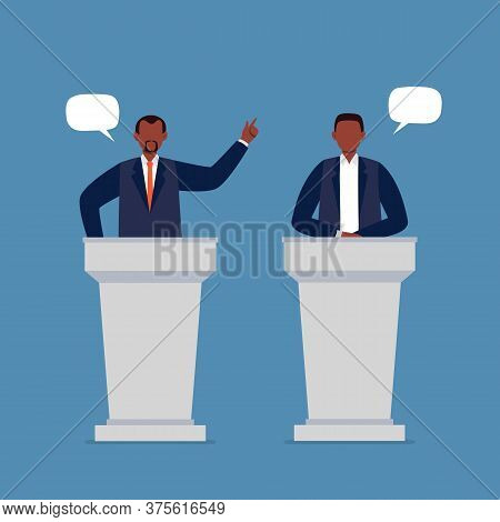 African-american Men Taking Part In Debates. Pair Of Government Workers Talking To Each Other, Discu