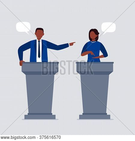 An African-american Woman And Man Taking Part In Debates. Pair Of Government Workers Talking To Each