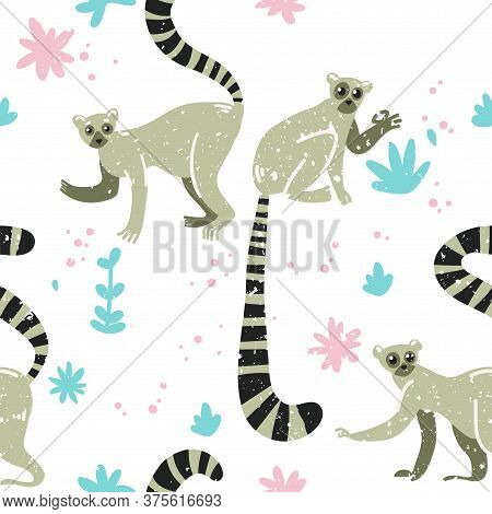 Tropical Pattern. Lemur In The Jungle. Cute Childish Illustration With Lemur. Vector Illustration Wi