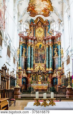 Bad Saeckingen, Bw / Germany - 5 July 2020: Interior View Of The St. Fridolin Cathedral In Bad Saeck