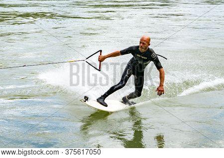 Bad Saeckingen, Bw / Germany - 5 July 2020: Professional Bungee Surfer Sebastian Dessecker Bungee Su