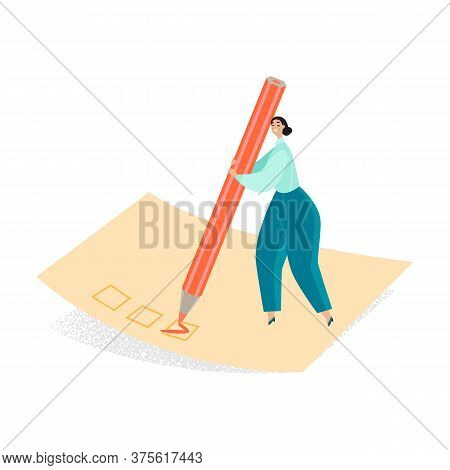 Conceptual Illustration Of A Girl Filling Out A Questionnaire With A Huge Pencil. Cartoon Character