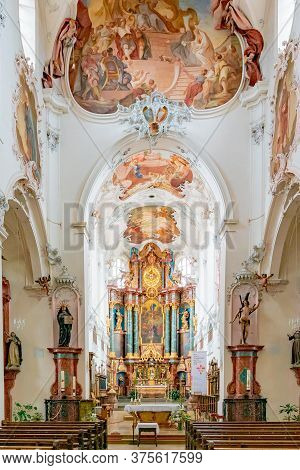 Interior View Of The St. Fridolin Cathedral In Bad Saeckingen With The High Altar
