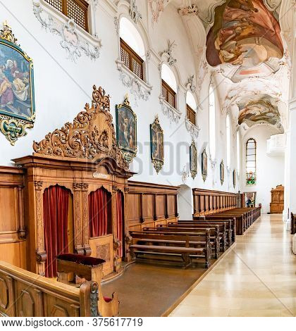 Interior View Of The St. Fridolin Cathedral In Bad Saeckingen With The Confessional