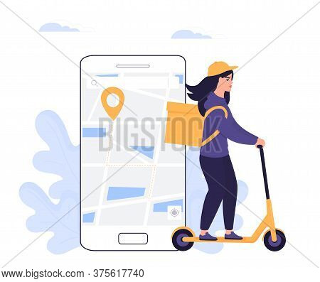 The Girl Courier Delivers The Parcel On An Electric Scooter. Online Order Food