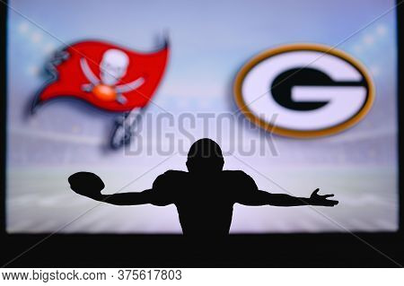 Tampa Bay Buccaneers Vs. Green Bay Packers. Nfl Game. American Football League Match. Silhouette Of