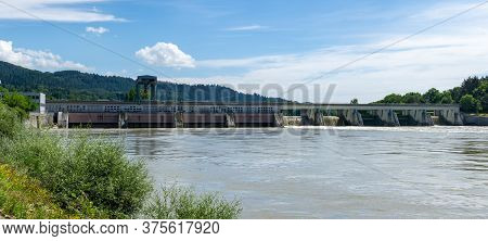 Bad Saeckingen, Bw / Germany - 4 July 2020: Hydroelectric Power Plant On The Rhine River In Bad Saec