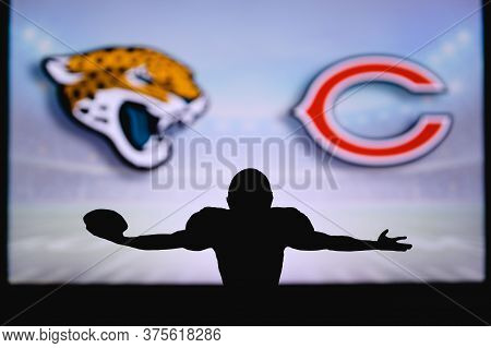 . Nfl Game. American Football League Match. Silhouette Of Professional Player Celebrate Touch Down.