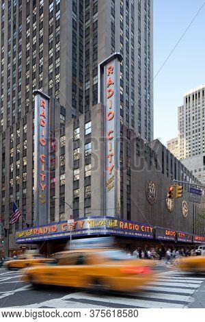 Manhattan, New York City, New York, United States - May 10, 2011: Neon Signs Of Radio City Music Hal