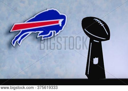 Buffalo Bills Professional American Football Club, Silhouette Of Nfl Trophy, Logo Of The Club In Bac