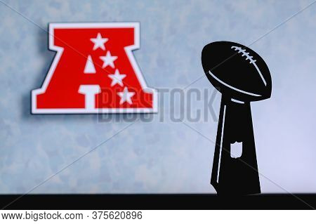 American Football Conference Afc, Professional American Football Club, Silhouette Of Nfl Trophy, Log