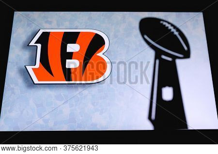 Cincinnati Bengals Professional American Football Club, Silhouette Of Nfl Trophy, Logo Of The Club I