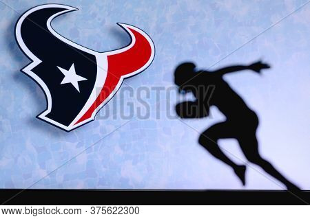 Houston Texans. Silhouette Of Professional American Football Player. Logo Of Nfl Club In Background,