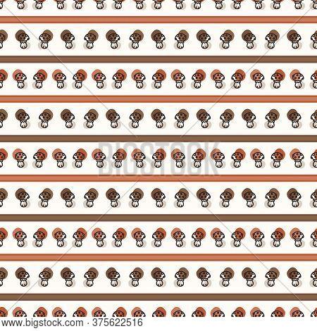 Seamless Background Toadstool Stripe Gender Neutral Baby Pattern. Simple Whimsical Minimal Earthy 2
