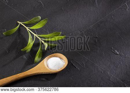 Stevia Rebaudiana - Natural Organic Sweetener. Text Space