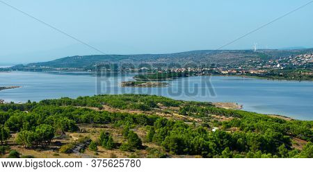 a view over the Etang de Leucate lagoon, seen from the Chateau de Leucate castle, in Leucate, France