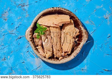high angle view of some pieces of spanish bonito en aceite, a mackerel-like fish in oil, in an earthenware plate, on a textured blue surface