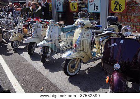 Classic Vespa and Lambretta scooters