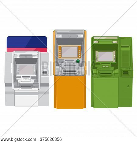Set Atm On A White Background. Cash Withdrawal Machine. Atm Illustration