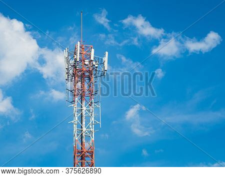 Lte, Gsm, 2g, 3g, 4g, 5g Tower Of Cellular Communication. Telecommunication Tower Against The Blue S