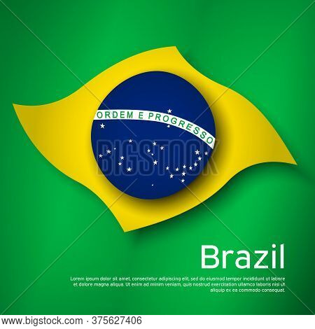Abstract Waving Brazil Flag. Creative Background For Brazil Holidays Card Design. Business Booklet.