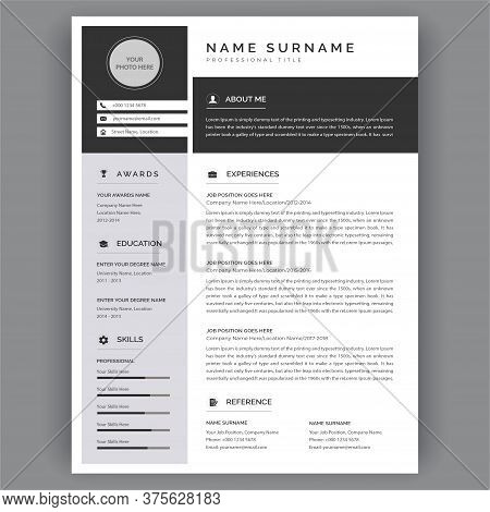Professional Cv / Resume Template Modern Vector Template Illustrations On Gray Background. Minimal D