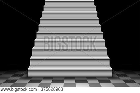 White Staircase On The Tile Floor In The Dark Room