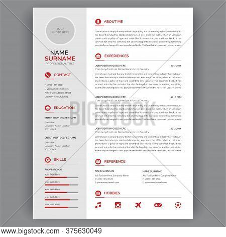 Resume/cv Template. Vector Minimalist Cv / Resume Template. Simple Curiculum Vitae  Clean Layout. Mi