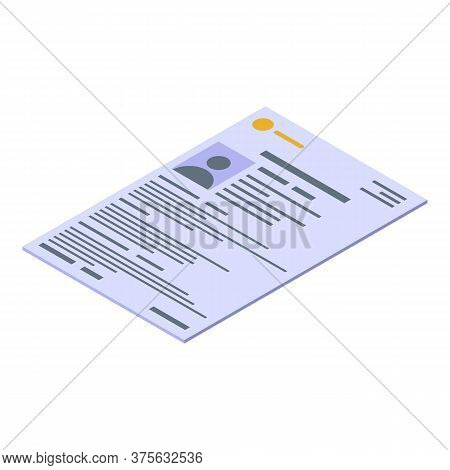 Cv Paper Headhunter Icon. Isometric Of Cv Paper Headhunter Vector Icon For Web Design Isolated On Wh