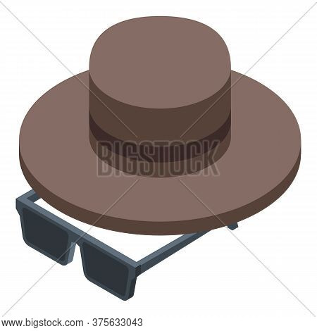 Recruiter Eyeglasses And Hat Icon. Isometric Of Recruiter Eyeglasses And Hat Vector Icon For Web Des