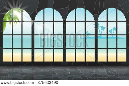 Sunlight At Glass Windows Of The Mable Bungalow On The Beach In The Summer