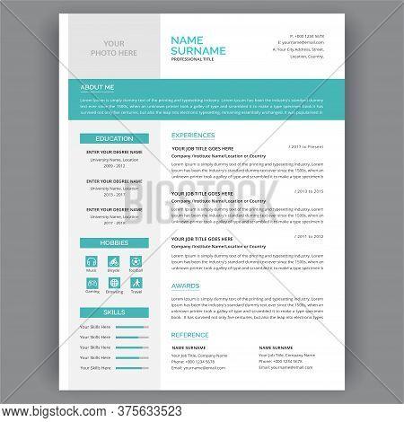Creative Minimal Clean Resume Template. Professional Resume Cv Templates - Vector Minimalist Typogrg