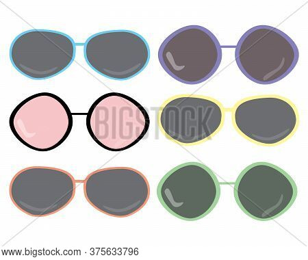 Flat Design Sunglasses Illustration Set