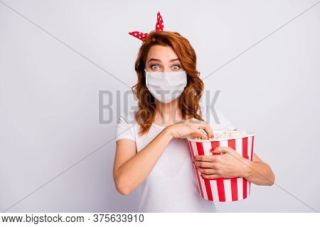 Close-up Portrait Of Her She Nice Lovely Girl Wearing Safety Mask Visit Cinema Eating Corn Seeing Ne