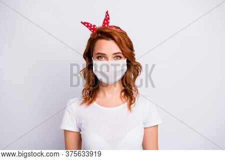 Close-up Portrait Of Her She Nice Pretty Healthy Content Girl Wearing Cotton Safety Mask Mers Cov Co