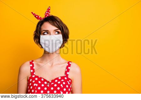 Close-up Portrait Of Her She Nice Lovely Girl Wearing Safety Mask Thinking Making Decision Copy Spac