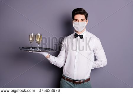 Portrait Of His He Attractive Guy Waiter Wearing Safety Cotton Mask Carrying Bringing Beverage Event