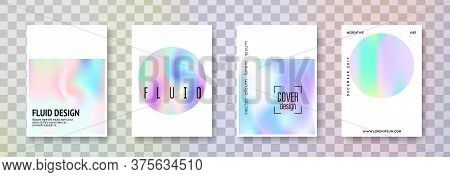 Hologram Abstract Backgrounds Set. Retro Hologram Backdrop With Gradient Mesh. 90s, 80s Retro Style.