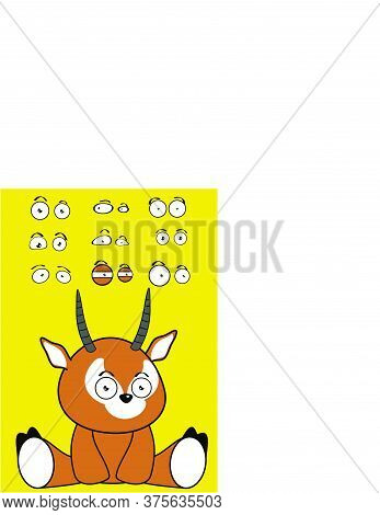 Cute Sitting Baby Antelope Cartoon Expressions Set Collection In Vector Format