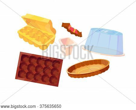 Set Of Different Packaging For Food. Egg Container, Packaging From The Bar, Yogurt Packaging, Candy
