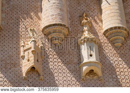 SEGOVIA, SPAIN - April 27, 2019: Details of the famous Alcazar castle of Segovia, Castilla y Leon, Spain