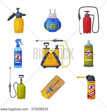 Pest Control Service Equipment Set, Detecting And Exterminating Insects Vector Illustration Isolated