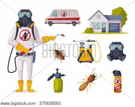 Pest Control Service, Exterminator Wearing Protection Uniform With Exterminating And Protecting Equi