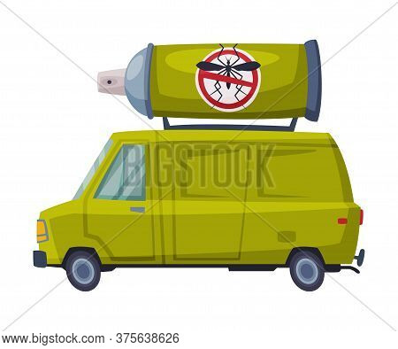 Pest Control Service Van, Exterminator Green Car Vector Illustration On White Background