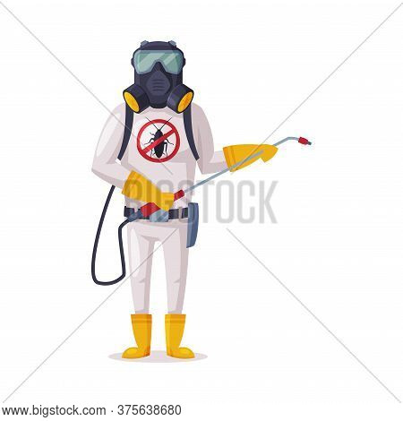 Exterminator Wearing Protection Uniform And Gas Mask Spraying With Insecticide, Male Worker Of Pest