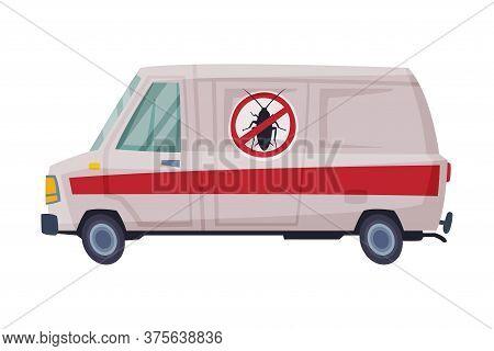 Pest Control Service Van, Exterminator Mini Bus Vector Illustration On White Background