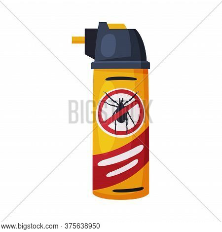 Spray Can Of Mite Chemical Insecticide, Pest Control And Extermination Concept Vector Illustration O