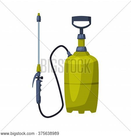 Green Pressure Sprayer Of Chemical Insecticide, Pest Control And Extermination Concept Vector Illust
